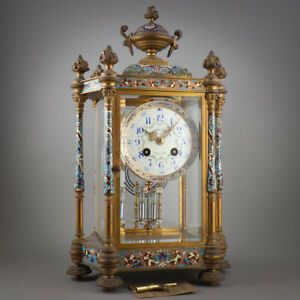 Bailey Banks Biddle French Champleve Enamel GIlt Bronze Crystal Regulator Clock