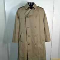 MISTY HARBOR Vtg Long RAINCOAT Rain Trench Coat Mens Size M 40 khaki