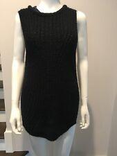Zara Knit Black Knit  Vest Sweater Size Small Embellished At Neck