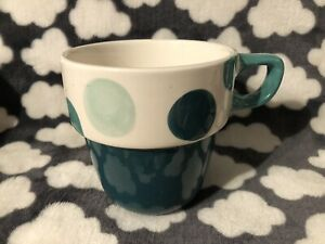NEW M&S REPLACEMENT STACKING MUG STACKABLE GREEN SPOT TEAL DOT MARKS AND SPENCER