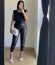 ZARA SS20 BLACK HIGH WAISTED FAUX LEATHER JOGGING TROUSERS SIZE XS NEW