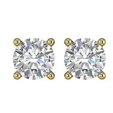 Solitaire Stud Earrings SI1 G 0.55 Ct Round Cut Diamond 14K Gold Four Prong Set