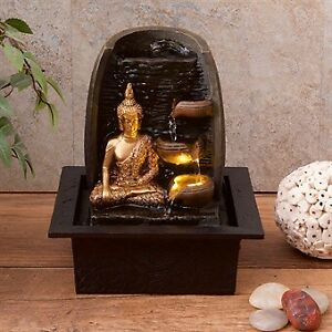 Gold Buddha Water Fountain With LED Light - Housewarming Gift Tranquil Relaxing