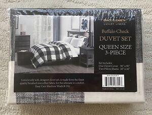 """90"""" x 90"""" Queen Size Checkerboard Duvet Cover w/ 2 Matching Pillow Shams Linens"""
