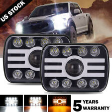 "Pair 500W 7x6"" 5x7"" LED Headlight Hi Lo Beam DRL For Chevrolet Jeep Cherokee XJ"