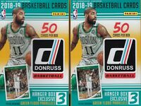 (2) 2018-19 Donruss Basketball New NBA Trading Cards 50ct HANGER Box LOT FS
