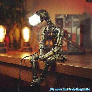Robot Water Pipe Desk Light Steampunk Table Lamp Vintage Home Decor Industrial