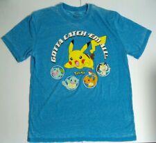 Pokemon Pikachu Anime Tv Cartoon Manga T-Shirt L Mens 2016 Light Blue