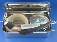 Rasiermesser Set mit Box Streichriemen Rasierschale Schleifpaste Solingen NEU