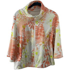Lululemon Jacket Vented Womens 8 Coral Floral Full Zip 3/4 Wide Sleeve Mock Neck
