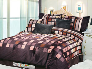 7-Pc Square Patchwork Striped Faux Fur Comforter Set Brown Taupe Tan Rust Queen