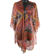 American Eagle Red & Multi-Color Sheer Floral 3/4 Bell Sleeve Open Front Top M