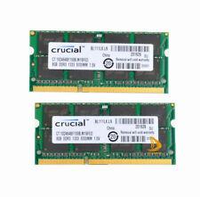 Crucial 16GB 2X8GB 2Rx8 DDR3-1333Mhz PC3-10600 Portátil RAM Memoria MacBOOK Pro2011
