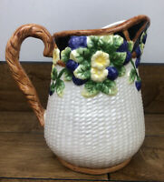 Nantucket Hand Painted Water Pitcher Flowers And Berries 8 Inch