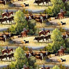 Wild Wings Sagebrush Cowboy Herding Cows Cotton Fabric Fat Quarter