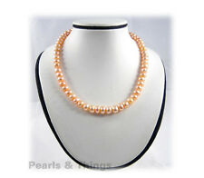 PINK FRESHWATER PEARL Necklace Button-8mm Bead - UK SELLER