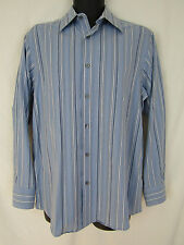 Axcess Liz Claiborne Mens Cotton Blue Striped Long Sleeve Button Down Shirt sz M
