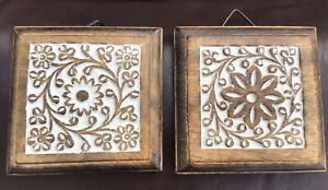Pair of Wooden Wall Hanging Plaque Square Floral Design Cut Out Made In India