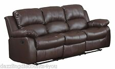 Classic Sofa 3-Seater Brown Bonded Leather Recliner Chair