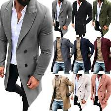 Mens Wool Coat Overcoat Winter Long Sleeve Tops Lapel Button Up Casual Jacket US