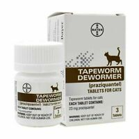 Bayer Tapeworm Dewormer Cats (Praziquantel Tablets) 3-Count, New - Exp 4/2024