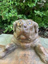 Antique 19th C Black Forest Carved Oak Labrador Dog Inkstand Inkwell, Glass Eyes