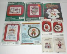 CHRISTMAS Cross-Stitch Kit Lot of (9) Motif Ornaments Pillow/Picture Holiday NEW