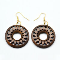 Filigree Rosetee Wood Earrings for Women Cut Out Wooded Floral Jewelry Accessory