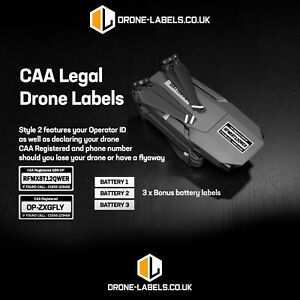 Drone labels UK, CAA Legal - Style 2 - Operator ID - FREE BATTERY LABELS