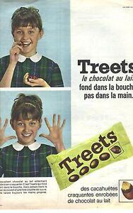 PUBLICITE ADVERTISING 1965   TREETS bonbons à la cacahuète et au chocolat