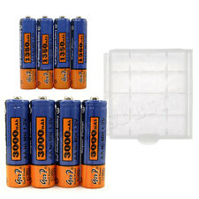 8pcs AA +AAA NiMH Battery Rechargeable Storage Case GB