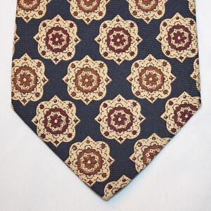 NEW Banana Republic Silk Neck Tie Dark Blue with Beige and Burgundy Pattern 1271
