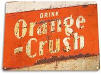 """Orange Crush Rust"" Metal Decor Wall Art Soda Cola Store Shop Sign"