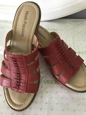Hush Puppies Women's ROUX Red LEATHER Platform Sandals Size 6.5