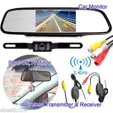 "4.3"" Car TFT LCD Mirror Monitor + Wireless Reverse Rear View Backup Camera Kit"