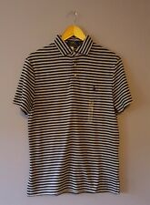 Ralph Lauren Mens Polo Shirt Dark Blue Grey Stripe Size Medium BNWT
