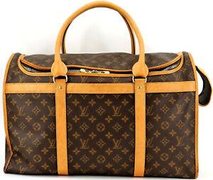 Authentic LOUIS VUITTON Monogram Sac Chien 50 Pet Carrier Handbag France M42021