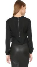 Haute Hippie Black Cowl Neck Crop Silk Top Blouse   Size S