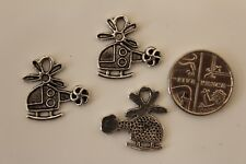 10 Tibetan Silver Helicopter Charms Bead Findings 18x18mm