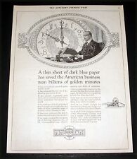 1922 OLD MAGAZINE PRINT AD, A.B. DICK MIMEOGRAPH MACHINE, GOLDEN MINUTES SAVED!