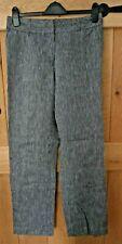 Women's black/grey striped lined linen trousers size 12 East