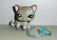 Littlest Pet Shop LPS GREY STRIPED SHORT HAIR CAT W/Blue Flower Green Eyes 2006