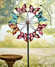 Large Colorful BUTTERFLY Metal Garden Wind Spinner Lawn Yard Stake Art Decor