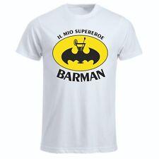 T- shirt maglia uomo donna bianca in poliestere scritta il mio supereroe barman