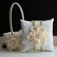 Lace Bearer Pillow Gold Ivory Wedding Flower Lace Ring Girl Basket Set