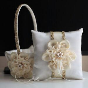 Lace Bearer Pillow Gold Ivory Wedding Flower Lace Ring Girl Basket Set