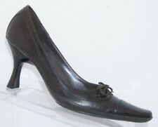 BCBGirls brown leather square toe lace up slip on stacked heels 7B 6403