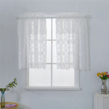 Lace Kitchen Cafe Short Curtains Sheer Voile Tulle Drapes Blinds Panel Net Scarf