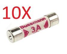 10 x 3A Cartridge Fuse Ceramic F Speed 3 Amp 240v 6.3mm x 25mm NEW