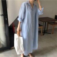 Lady Loose Long Shirt Blouse Dress Retro Casual Cotton Oversized White Blue Chic